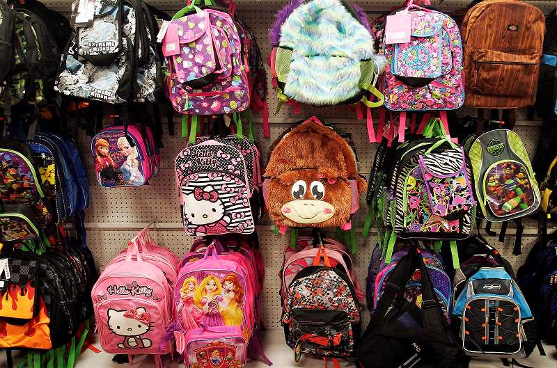 Photo Credit: OUTLOOK PHOTO: JIM CLARK  - Backpacks, being one of the most expensive school supply items, are at the top of the foundations list.