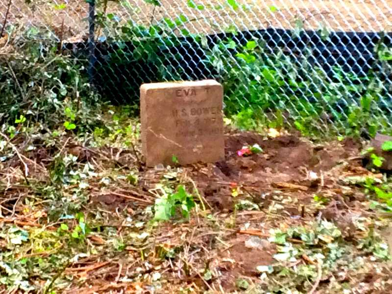 Photo Credit: SUBMITTED PHOTO - Rich Adams photographed the gravestone he found while on a walk near Meadows Road. The headstone is likely 112 years old.