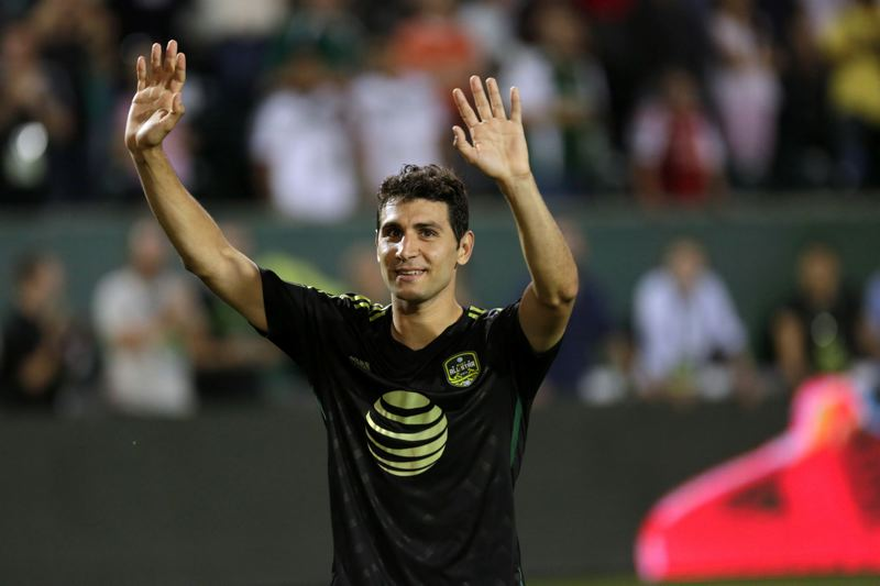 Photo Credit: TRIBUNE PHOTO: JONATHAN HOUSE - Diego Valeri of the Portland Timbers acknowledges the crowd at Providence Park on Wednesday night as the MLS All-Stars defeat Bayern Munich 2-1.