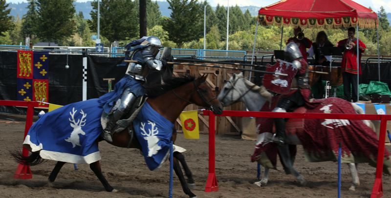 Photo Credit: HILLSBORO TRIBUNE PHOTO: DOUG BURKHARDT - One of the Oregon Renaissance Festivals most popular events -- brave knights in armor jousting on horseback -- will be be featured twice each day.