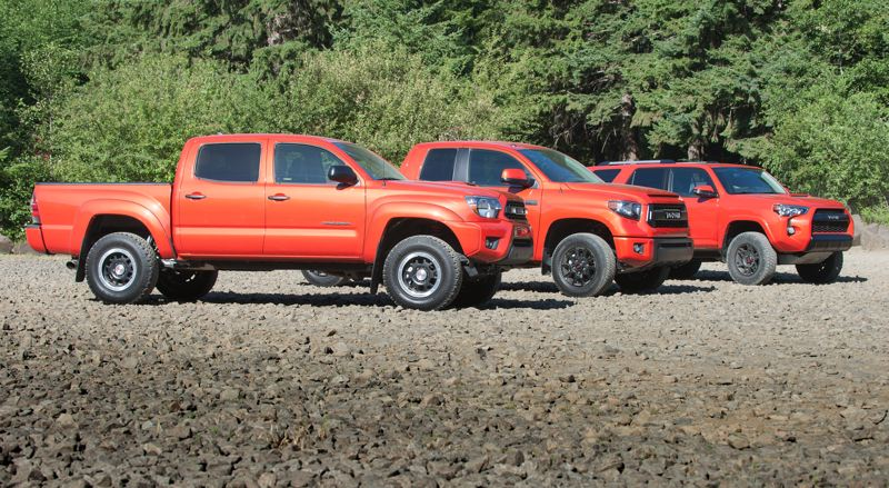 Photo Credit: JOHN M. VINCENT - The 2015 Toyota TRD Pro family: Tacoma, Tundra and 4Runner. All are available in a TRD Pro-exclusive Inferno orange.