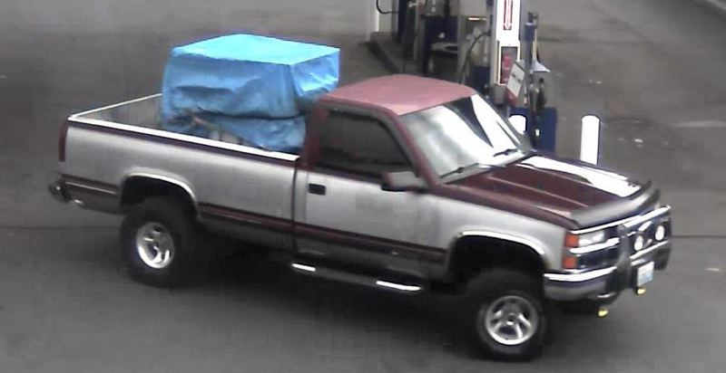 Photo Credit: PORTLAND POLICE BUREAU - Police used surveillance video to identify this truck used by suspected gas thief Christopher Scott Beard.