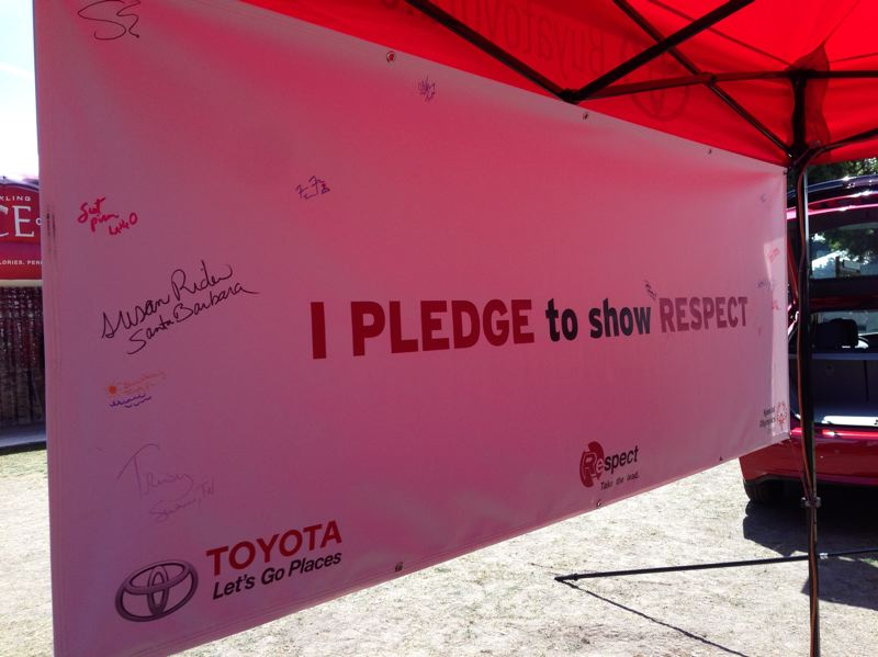 Photo Credit: COURTESY PORTLAND METRO TOYOTA DEALERS ASSOCIATION - Toyota's booth at Bite of Oregon included a banner that attendees could sign to pledge respect for others as part of Special Olympics Oregon's Respect campaign.