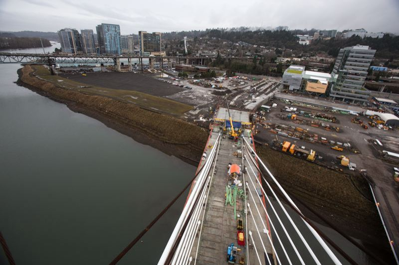 Photo Credit: TRIBUNE PHOTO: JONATHAN HOUSE - The view from the top of tTilikum Crossing in January. It is scheduled to open on Sept. 12, 2015.