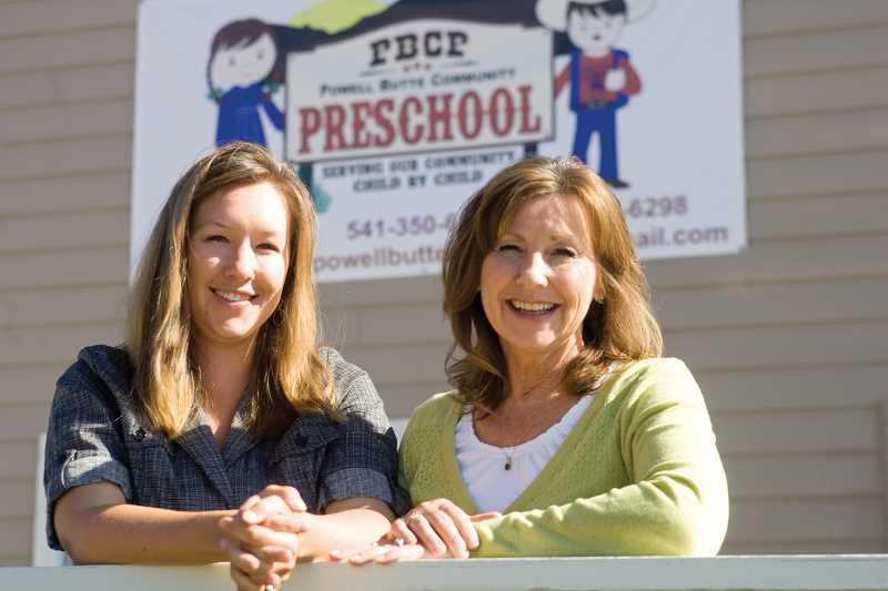 Photo Credit: KEVIN SPERL - Aubrie Murray (left) and her mom Tammy Verdusco-Adams are getting ready for the fall opening of their new preschool at the Powell Butte Christian Church.