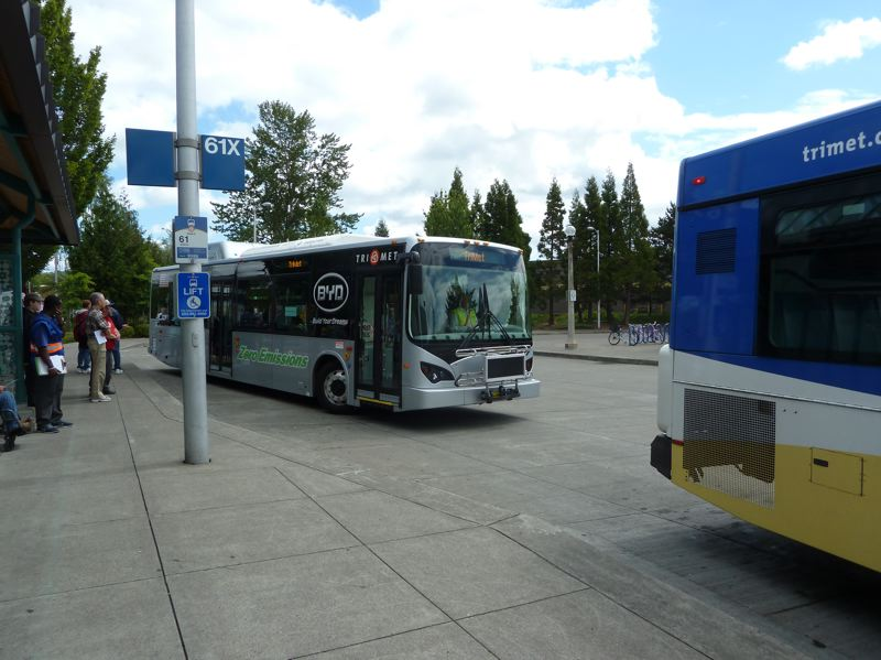 Photo Credit: COURTESY TRIMET - TriMet picked up and dropped off passengers with the BTD electric bus it road tested in June and July.