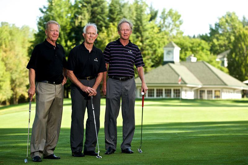 Photo Credit: TRIBUNE PHOTO: JAIME VALDEZ - (From left) Marvin French, Barney Hyde and Gay Davis, who are co-founders of Pumpkin Ridge Golf Club, stand on the 18th fairway of the Witch Hollow course in North Plains.