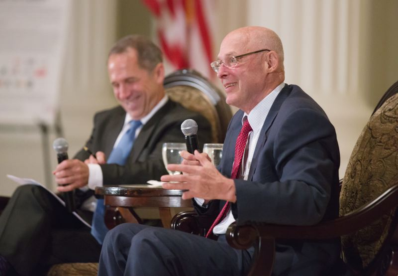 Photo Credit: PAMPLIN MEDIA GROUP: JONATHAN HOUSE  - Henry Paulson, George W. Bushs treasury secretary, urged major state action to address climate change at the Portland City Club.