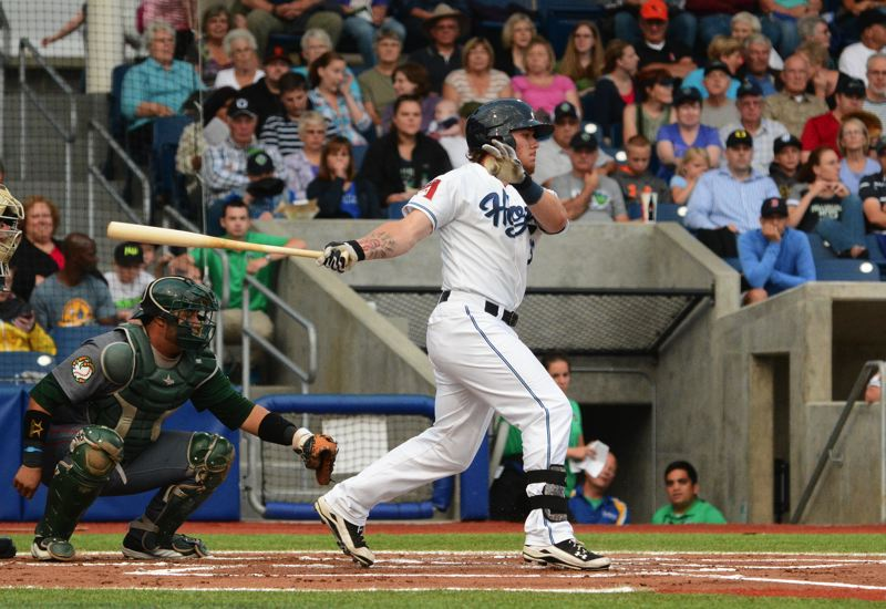Photo Credit: JOHN WILLIAM HOWARD - Hillsboro Hops' outfielder Sryker Trahan, the youngest player on the squad, takes a swing during Wednesday's 1-0 walkoff victory over Boise. Trahan is just 20 years old, and was drafted by the Arizona Dimondbacks in 2012.