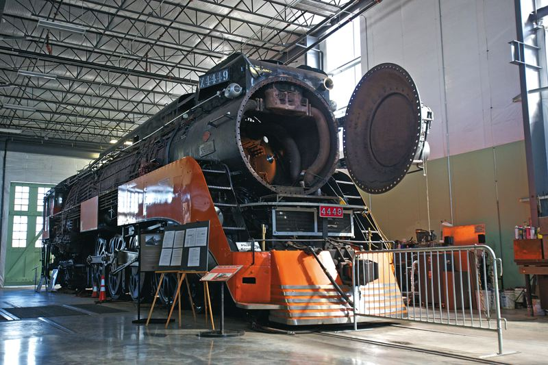 Photo Credit: TIMES PHOTO: JAIME VALDEZ - The SP 4449 sits in the Oregon Rail Heritage Center for its mandatory boiler inspection, which happens every 15 years.