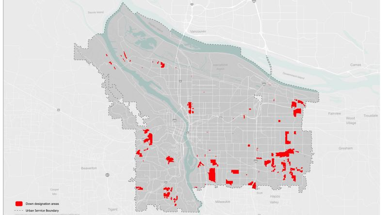 Photo Credit: MAP COURTESY OF PORTLAND PLANNING AND SUSTAINABILITY - Portland planners want to reduce the density of allowable development on 2,100 acres of land sprinkled throughout the city, a process known as down-zoning.