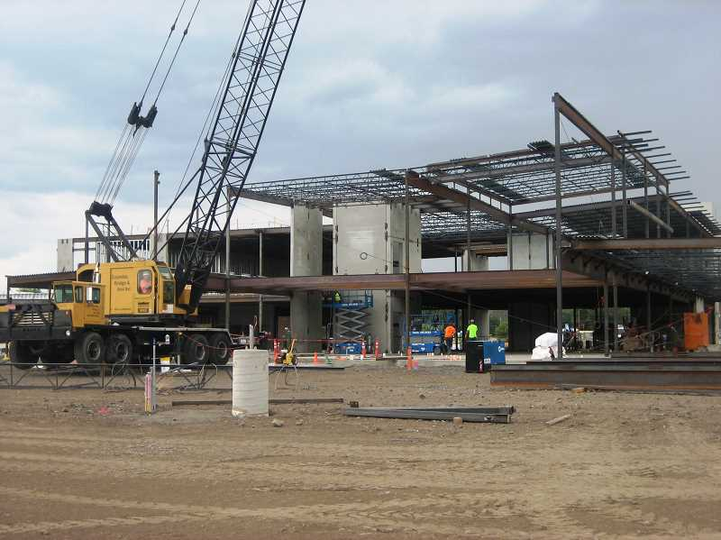 Photo Credit: BILL MINTIENS - The steel skeleton of the new St. Charles Prineville Campus being erected.
