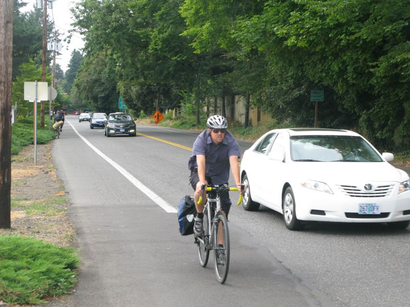 Photo Credit: PHOTO BY: RAYMOND RENDLEMAN - Engineering Director Jason Rice says current conditions on Southeast 17th Avenue show why Milwaukie feels so strongly about finishing the last mile of the multiuse path between the Trolley Trail and the Springwater Corridor.