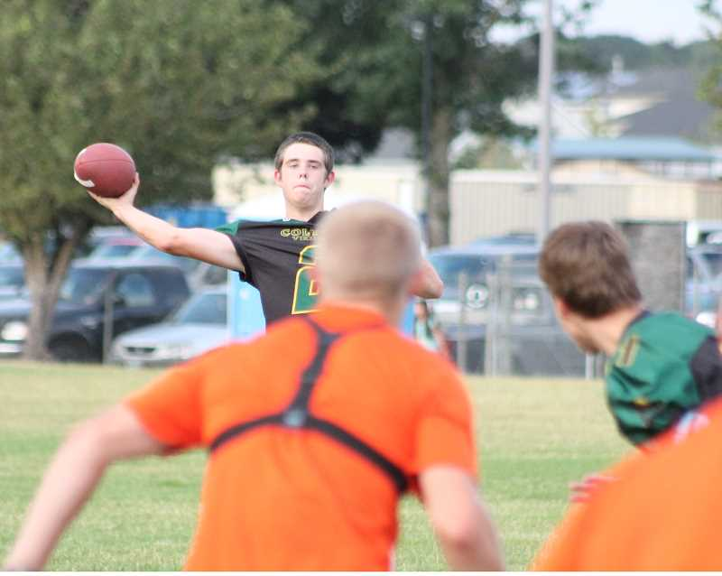 Photo Credit: JIM BESEDA/MOLALLA PIONEER - Senior Jacob Imdieke is one of the prospects looking to fill the vacancy at quarterback for the Colton Vikings.