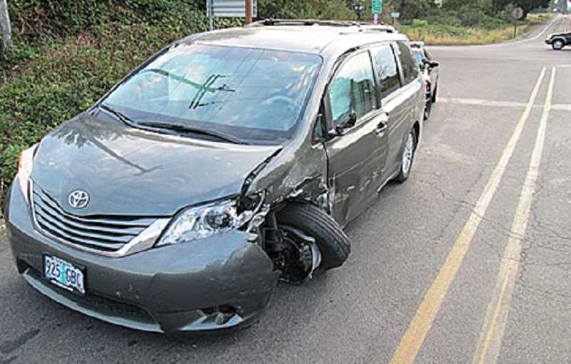 Photo Credit: OREGON STATE POLICE - The 2007 Honda Accord of Fred Sauermann was heavily damaged after a collision with a 2013 Toyota van on Highway 219 south of Newberg early Tuesday morning.