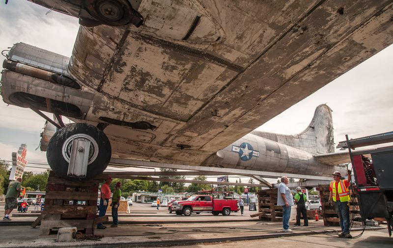 Photo Credit: SPOKESMAN PHOTO: JOSH KULLA - The Lacey Lady, a B-17G, has sat outside The Bomber in Milwaukie since 1947, when it was brought to Oregon from Texas by Art Lacey. His grandson, Jayson Scott, now is working to restore the plane to flying condition.