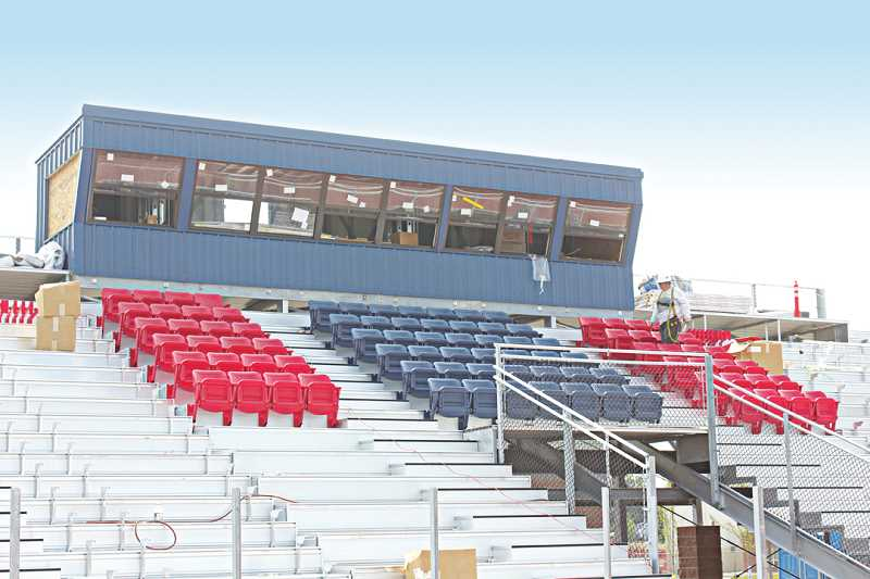 Photo Credit: JEFF WILSON/THE PIONEER - These seats with arm rests and backs will be on sale at the Aug. 29 scrimmage.