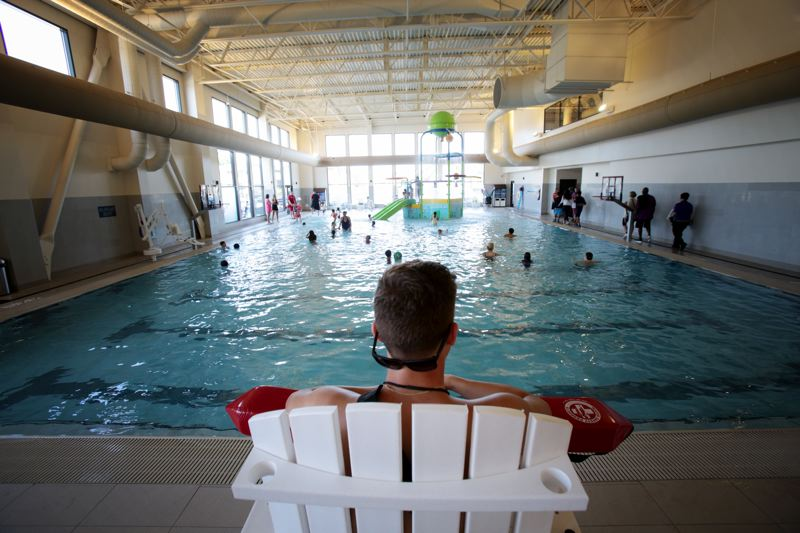 Photo Credit: TIMES PHOTO: JONATHAN HOUSE - The family-friendly indoor pool was busy at VillaSport Athletic Club and Spa on Monday.