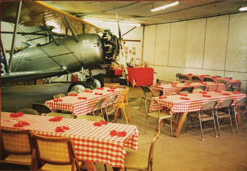 Photo Credit: SUBMITTED PHOTO - A roll-out party was held for the N3N in a hangar at the Ochs' ranch.