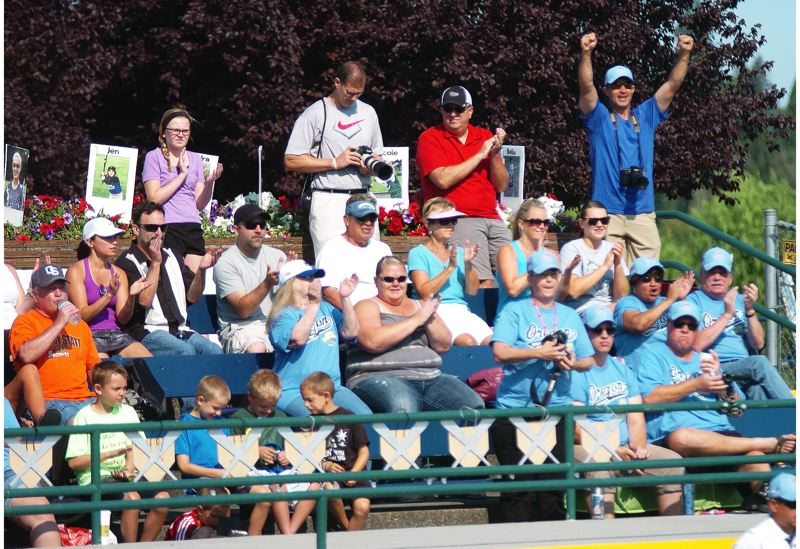 Photo Credit: DAN BROOD - BEING LOUD -- Tigard/Tualatin City Little League fans cheer on the team during its win over Puerto Rico