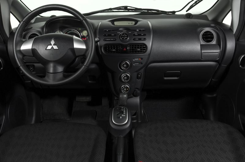Photo Credit: MITSUBISHI MOTORS - The spartan interior of the Mitsubishi MiEV reflects its international marketing strategy.