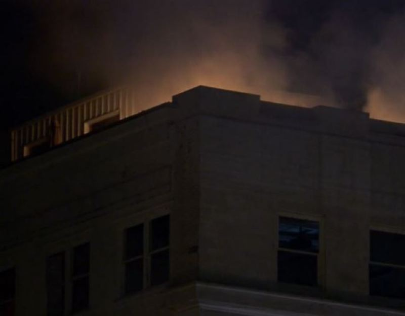 Photo Credit: KOIN 6 NEWS - Fire and smoke rises from the roof of the Yeon Building as fire crews respond.