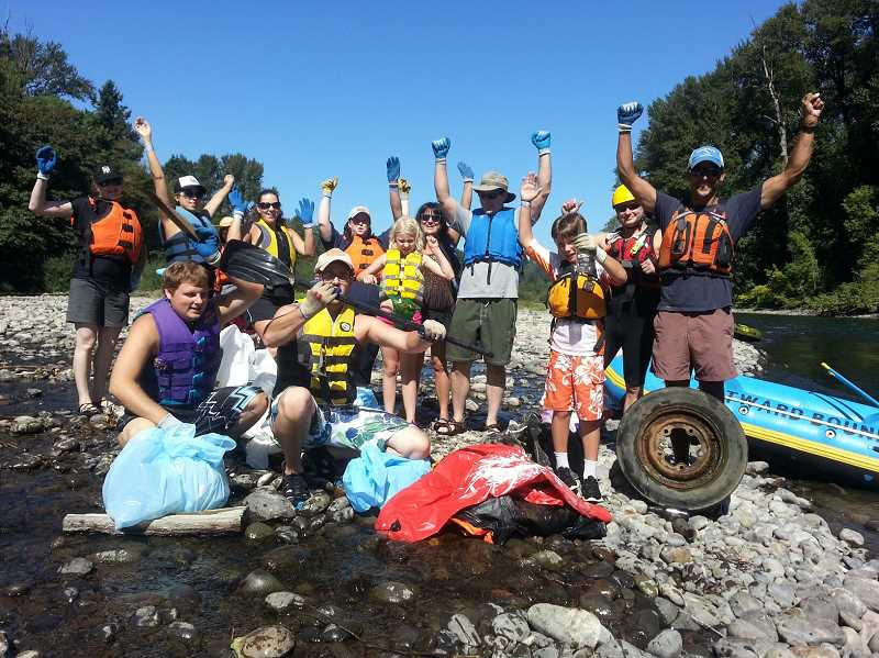 Photo Credit: CONTRIBUTED PHOTO - Nonprofit organizations plan the annual Down the River Clean Up for Sunday, Sept. 7. The giant float draws volunteers to clean trash from along the banks of the Clackamas River.