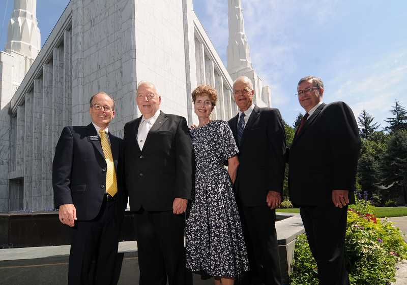 Photo Credit: REVIEW PHOTOS: VERN UYEATKE - Giving the Mormon temple a bedrock of strong leadership are (from left) Kerry Morgan, Jim Bean, Diane Pond, Steve Pond and Gene Platt.