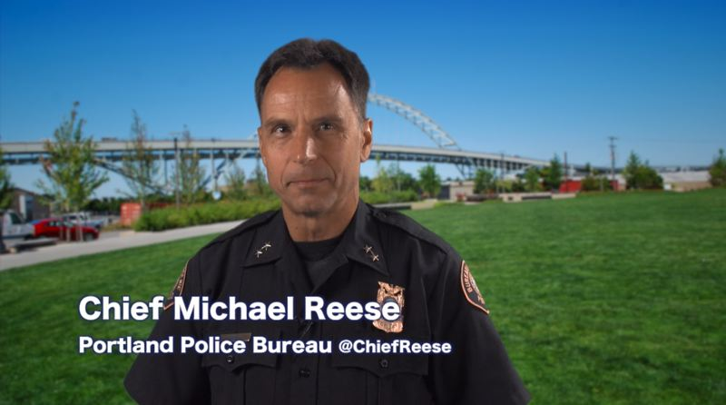 Photo Credit: PORTLAND POLICE BUREAU - Police Chief Mike Reese talks to Portlanders in new video.