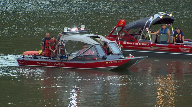 Photo Credit: COURTESY PHOTO: KOIN 6 NEWS - A dive team from the Newberg Fire Department joined Gaston Fire and other emergency personnel to search Hagg Lake.