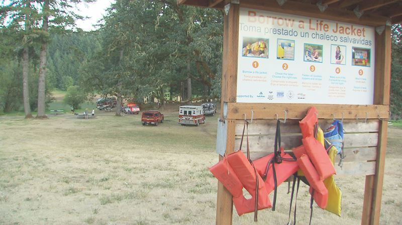 Photo Credit: COURTESY PHOTO: KOIN 6 NEWS - Jeremy Scholl, 3, was not wearing a life jacket Monday, even though a kiosk offering free life jackets was in plain view of the parking lot.