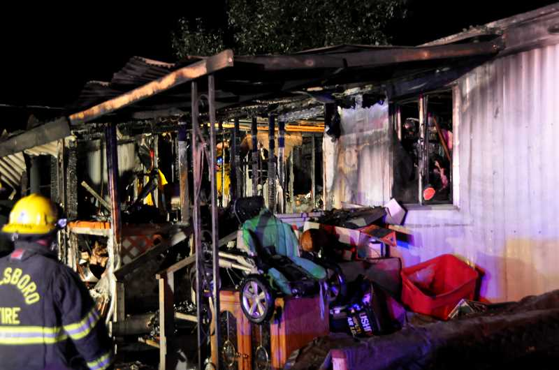Photo Credit: SUBMITTED PHOTO - Fire investigators say electrical problems are to blame for the Saturday-morning fire that destroyed a Hillsboro mobiole home.
