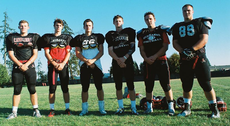 Photo Credit: JOHN DENNY - Clackamas team captains (from left) Bryce Dickey, Brett Peterson, Nathan Kemp, Hayden Kirsch, Coby Taylor and Aidan Kragero believe the Cavaliers have the talent to be title contenders in the Mt. Hood Conference this fall.