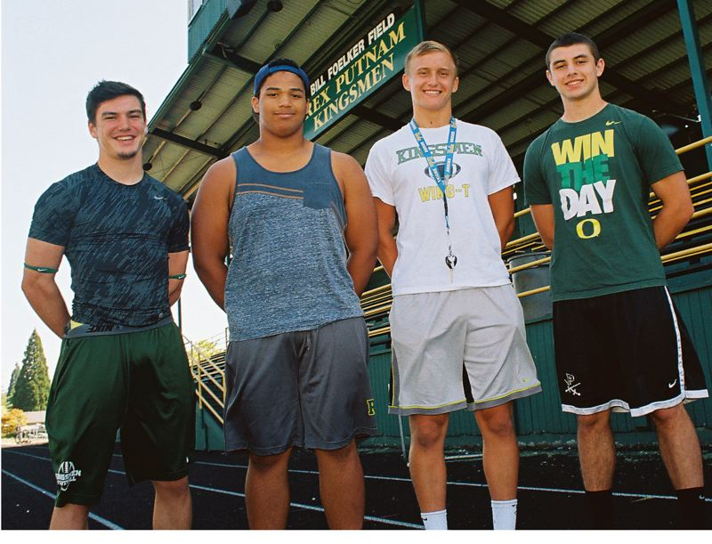 Photo Credit: JOHN DENNY -   Putnam senior leaders (left to right) Eamon Gallagher, Jeffrey DAuvergne, Tristan Smith and Brandon Culp say they like their new head coach, his emphasis on defense, and his wing-T offense.