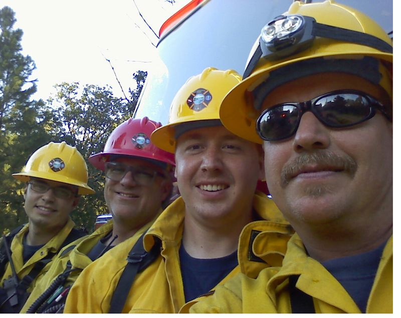 Photo Credit: PHOTO COURTESY: JEFF SMITH - Among the Clackamas County crews arriving at the Rowena Fire were, from left, Jeramy Brenner, Jeff Smith, Zak DeLair, Kirk Stempel.