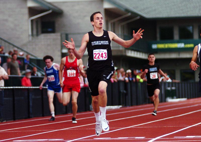 Photo Credit: TIMES PHOTOS: DAN BROOD - Jacob Sturtevant won the 400-meter dash at the 3A state track and field championship this year and helped the Westside Christian boys track team place sixth overall.