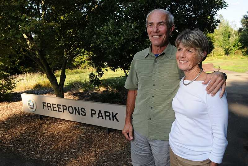 Photo Credit: REVIEW PHOTO: VERN UYETAKE - Dave Craig and Debbie Freepons Craig say two generations of Craigs and Freepons have lived in Hallinan Heights, where the neighborhood park is named for her parents.