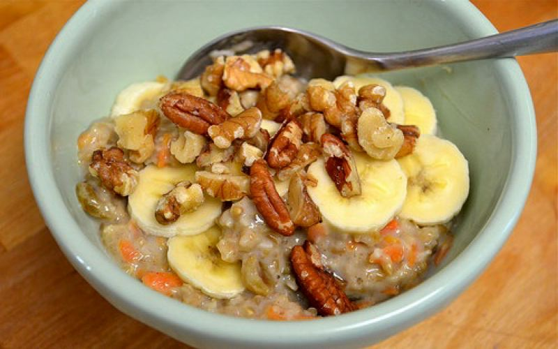 Photo Credit: PHOTO COURTESY: BOB'S RED MILL - Spar for the Spurtle-winning Morning Glory Oats combine steel-cut oats, almond and coconut milk, grated carrots, golden raisins, shredded coconut, sliced banana, brown sugar, walnuts and pecans.