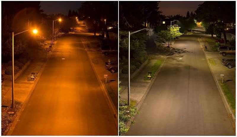 Photo Credit: SUBMITTED PHOTO - A before and after shot from Oregon City shows the difference between older-model cobrahead streetlights (left) and new LED lights (right).