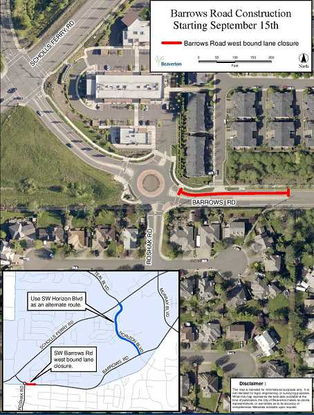 (Image is Clickable Link) A section of Barrows Road near Scholls Ferry will be closed for a month, beginning in mid-September.