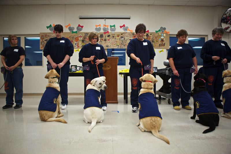 Photo Credit: TIMES PHOTO: JAIME VALDEZ - Inmates stand with dogs they helped train during a graduation at Coffee Creek Correctional Facility.