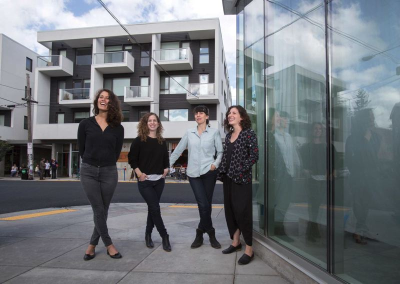 Photo Credit: TRIBUNE PHOTO: JONATHAN HOUSE - From left, Fieldwork Flowers Megan Arambul and Annie Sanditen and Nationale art gallerys May Barruel and Gabi Lewton-Leopold talk about opening their new spaces on Southeast Division Street.