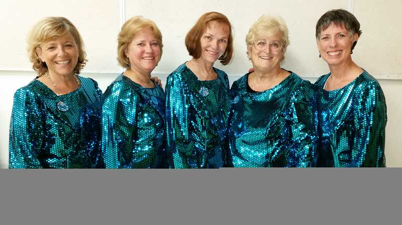 Photo Credit: SUBMITTED PHOTO - Local members of the Pride of Portland Chorus include from left, Sandy Cahill, Margy Kiser, Sue Vincent, Kathy Lundgren and Jean Ashby.