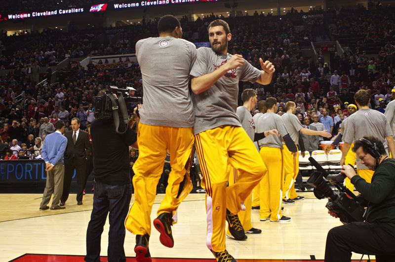 Photo Credit: TRIBUNE PHOTO: JAIME VALDEZ - Kevin Love (right) is introduced as a Cleveland Cavaliers starter at Tuesday night's NBA game at the Trail Blazers.