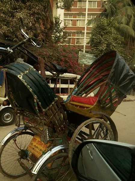 These two rickshaws collided in the streets of Bangladesh right in front of White and his companions one day last week.