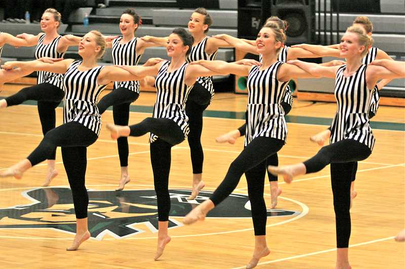 Photo Credit: TIDINGS PHOTO: J. BRIAN MONIHAN - The Debs kick routine again took top honors for the second competition in a row.
