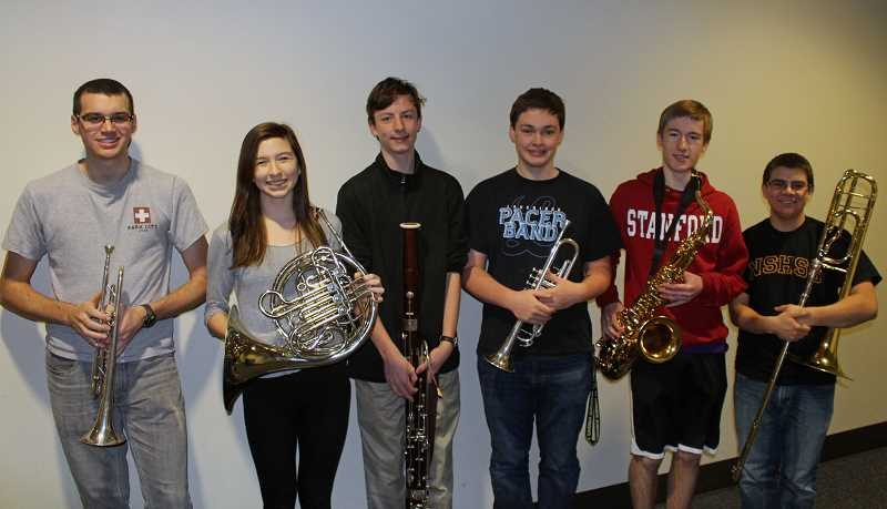 Photo Credit: SUBMITTED PHOTO - Several Lakeridge students earned a place in All-State honor band, including, from left: Greg Conan, Sophie Koh, Louis Bourque, Nick Abbott, Owen Kaufmann and Spencer Schaffer (also All-Northwest). Many Lakeridge and Lakeridge Junior High students earned a place in an honor group.