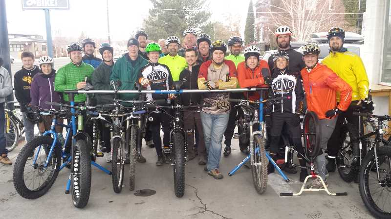 Photo Credit: KEVIN SPERL - About 30 riders gathered for the winter root beer ride out of the Good Bike Co. on Monday.