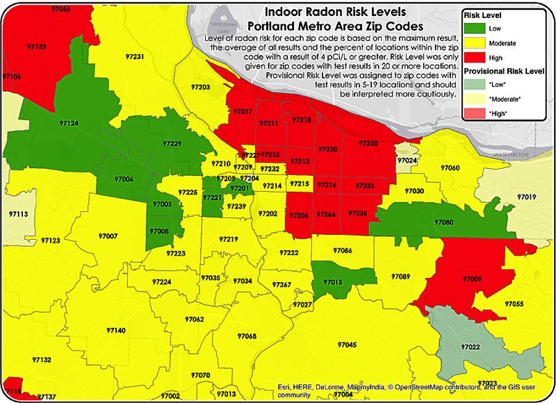 Zip Code Oregon Map.Pamplin Media Group Portland Other Cities At High Risk For Radon
