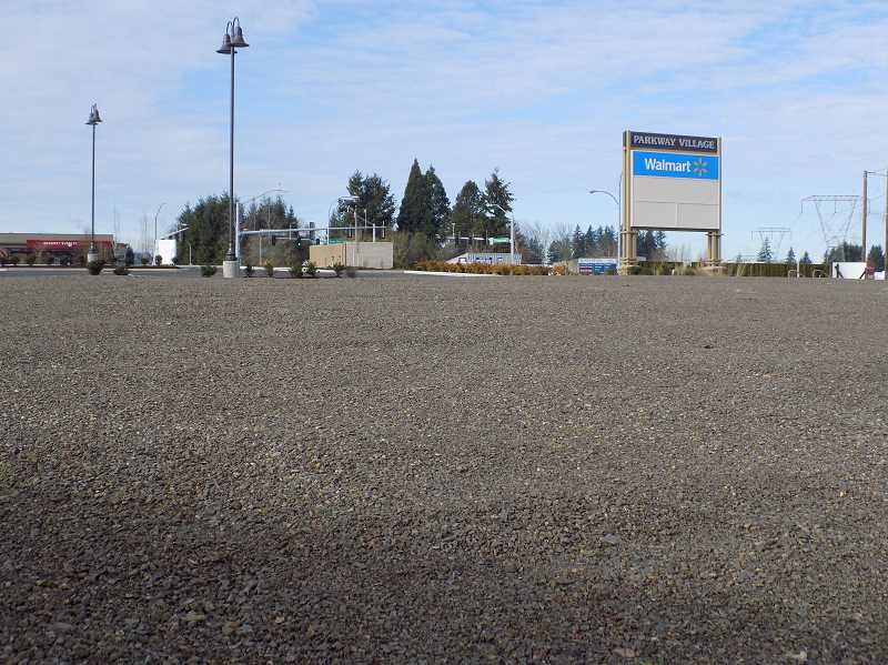 Photo Credit: GAZETTE PHOTO: RAY PITZ -  Here's the pad at Parkway Village in Sherwood where The Old Spaghetti Factory will soon locate. In the right corner is the intersection of Langer Farms Parkway and Tualatin-Sherwood Road.